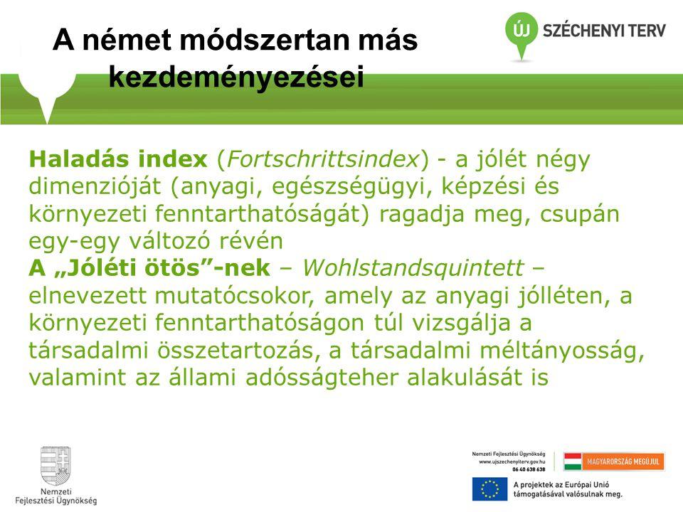 Haladás index (Fortschrittsindex) - a jólét négy dimenzióját (anyagi, egészségügyi, képzési és környezeti fenntarthatóságát) ragadja meg, csupán egy-e