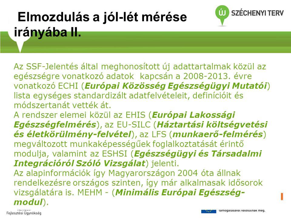 Az SSF-Jelentés által meghonosított új adattartalmak közül az egészségre vonatkozó adatok kapcsán a 2008-2013. évre vonatkozó ECHI (Európai Közösség E