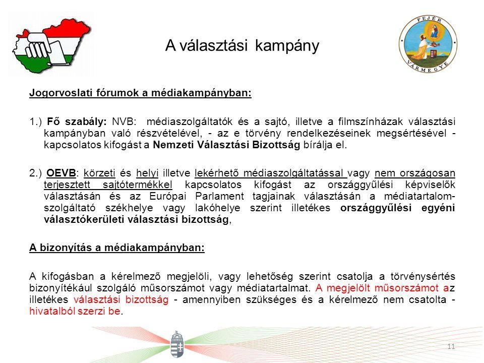 A választási kampány Jogorvoslati fórumok a médiakampányban: 1.) Fő szabály: NVB: médiaszolgáltatók és a sajtó, illetve a filmszínházak választási kam
