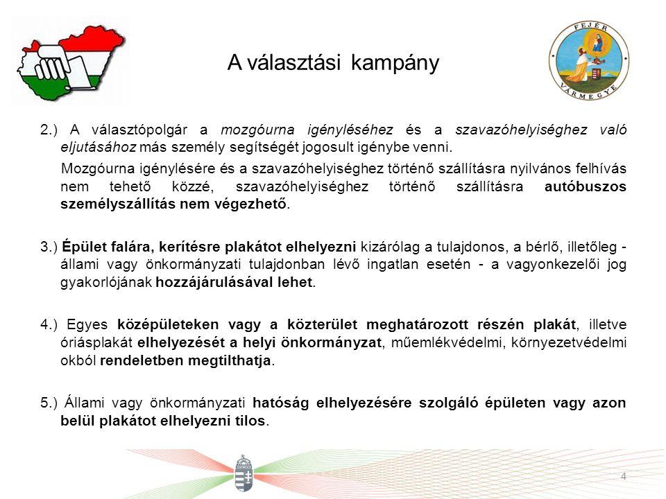 A választási kampány 2.) A választópolgár a mozgóurna igényléséhez és a szavazóhelyiséghez való eljutásához más személy segítségét jogosult igénybe ve