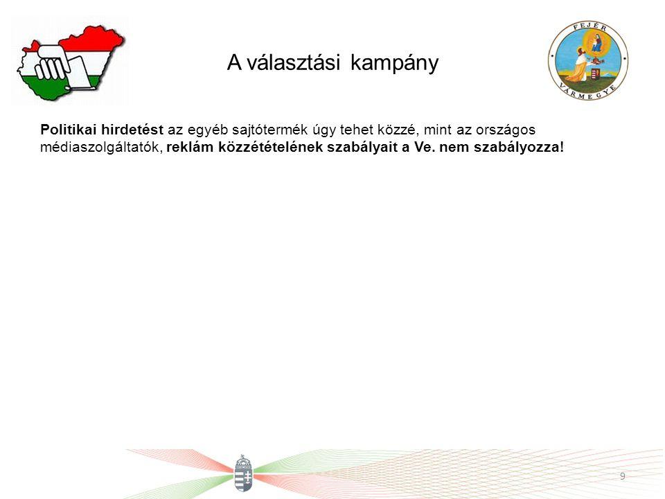 A választási kampány 13.) Választási kampányanyag a választópolgár részére közvetlen megkeresés módszerével a 89.