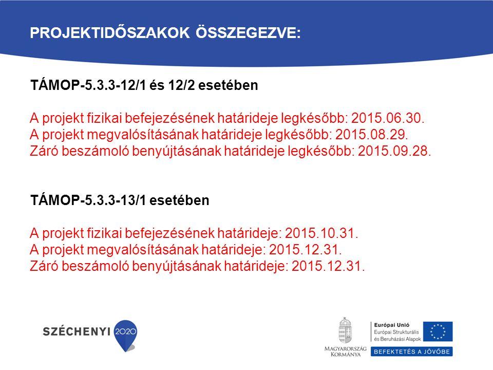 PROJEKTIDŐSZAKOK ÖSSZEGEZVE: TÁMOP-5.3.3-12/1 és 12/2 esetében A projekt fizikai befejezésének határideje legkésőbb: 2015.06.30. A projekt megvalósítá
