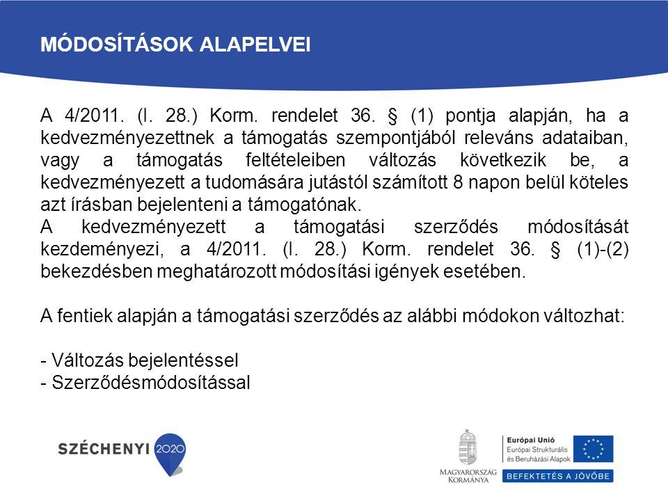 MÓDOSÍTÁSOK ALAPELVEI A 4/2011. (I. 28.) Korm. rendelet 36. § (1) pontja alapján, ha a kedvezményezettnek a támogatás szempontjából releváns adataiban