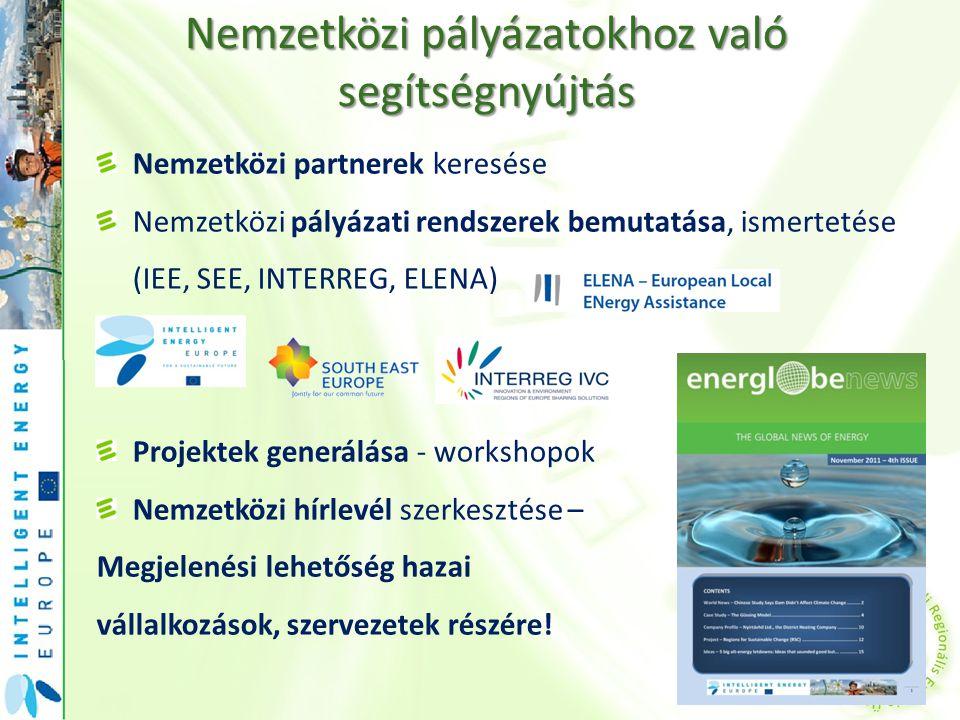 Nemzetközi partnerek keresése Nemzetközi pályázati rendszerek bemutatása, ismertetése (IEE, SEE, INTERREG, ELENA) Projektek generálása - workshopok Ne