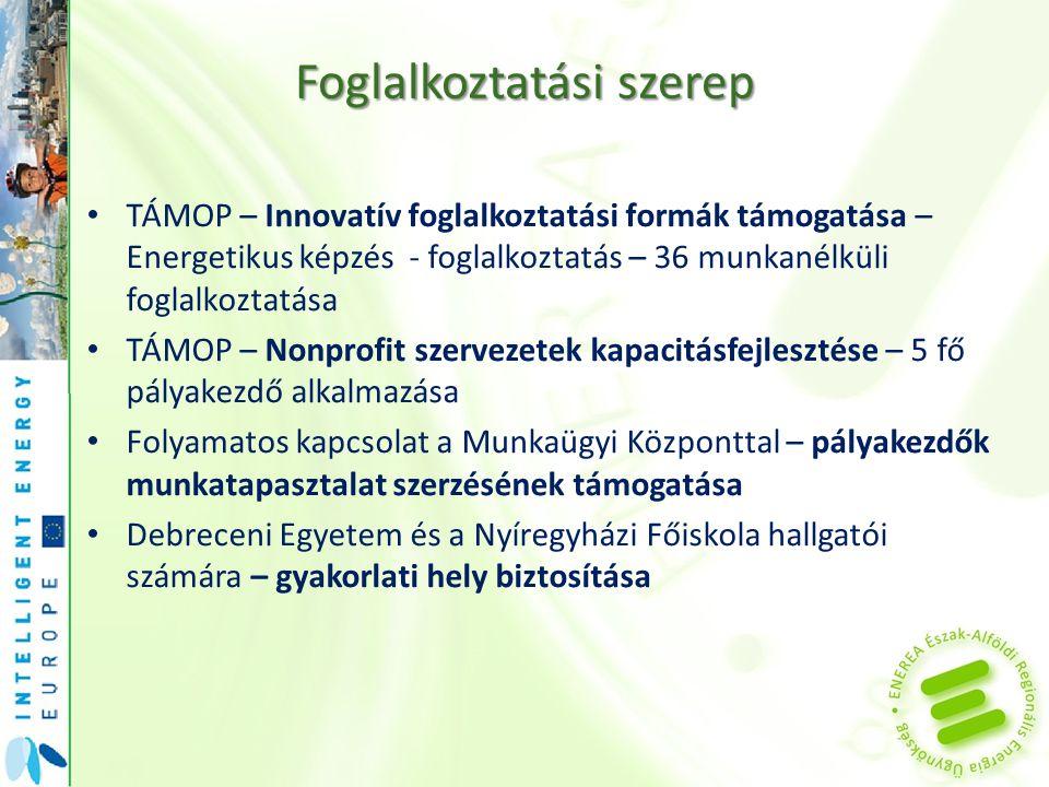 Foglalkoztatási szerep TÁMOP – Innovatív foglalkoztatási formák támogatása – Energetikus képzés - foglalkoztatás – 36 munkanélküli foglalkoztatása TÁM