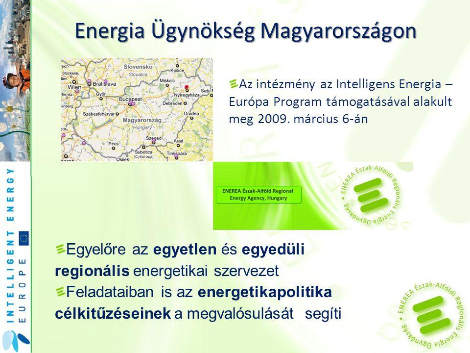 Energia Ügynökség Magyarországon Az intézmény az Intelligens Energia – Európa Program támogatásával alakult meg 2009. március 6-án Egyelőre az egyetle