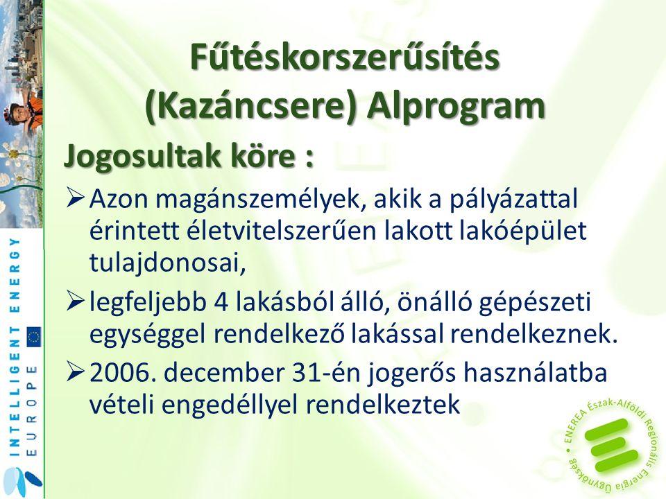 Fűtéskorszerűsítés (Kazáncsere) Alprogram Jogosultak köre :  Azon magánszemélyek, akik a pályázattal érintett életvitelszerűen lakott lakóépület tula