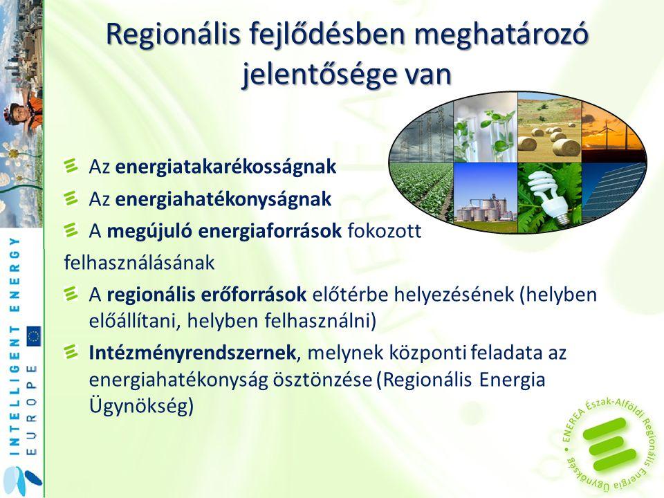 Regionális fejlődésben meghatározó jelentősége van Az energiatakarékosságnak Az energiahatékonyságnak A megújuló energiaforrások fokozott felhasználás
