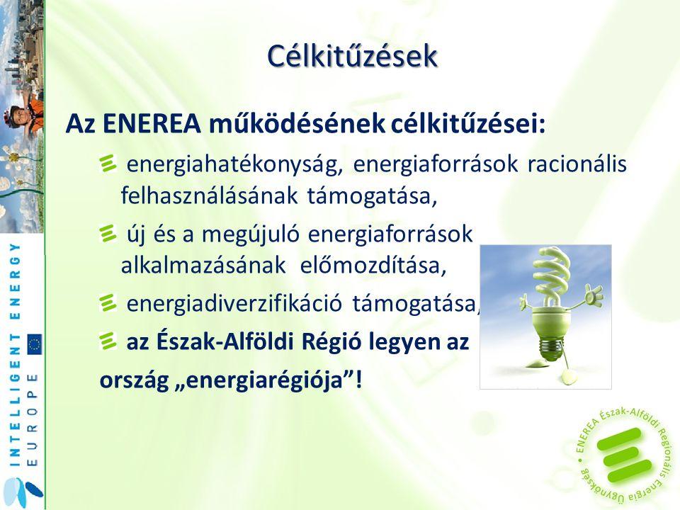 Célkitűzések Az ENEREA működésének célkitűzései: energiahatékonyság, energiaforrások racionális felhasználásának támogatása, új és a megújuló energiaf