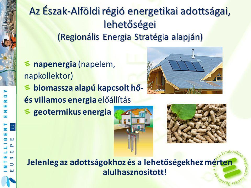 Az Észak-Alföldi régió energetikai adottságai, lehetőségei (Regionális Energia Stratégia alapján) napenergia (napelem, napkollektor) biomassza alapú k