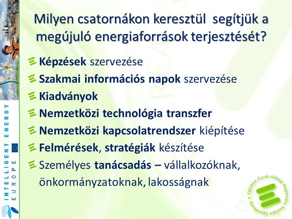 Milyen csatornákon keresztül segítjük a megújuló energiaforrások terjesztését? Képzések szervezése Szakmai információs napok szervezése Kiadványok Nem