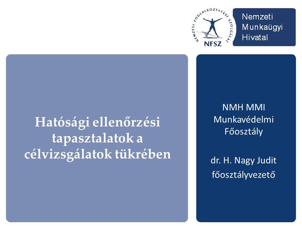 NMH MMI Munkavédelmi Főosztály dr. H. Nagy Judit főosztályvezető Hatósági ellenőrzési tapasztalatok a célvizsgálatok tükrében