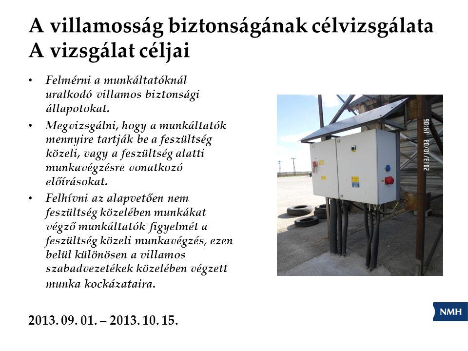 A villamosság biztonságának célvizsgálata A vizsgálat céljai Felmérni a munkáltatóknál uralkodó villamos biztonsági állapotokat. Megvizsgálni, hogy a