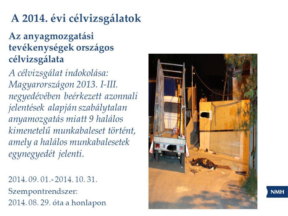 A 2014. évi célvizsgálatok Az anyagmozgatási tevékenységek országos célvizsgálata A célvizsgálat indokolása: Magyarországon 2013. I-III. negyedévében
