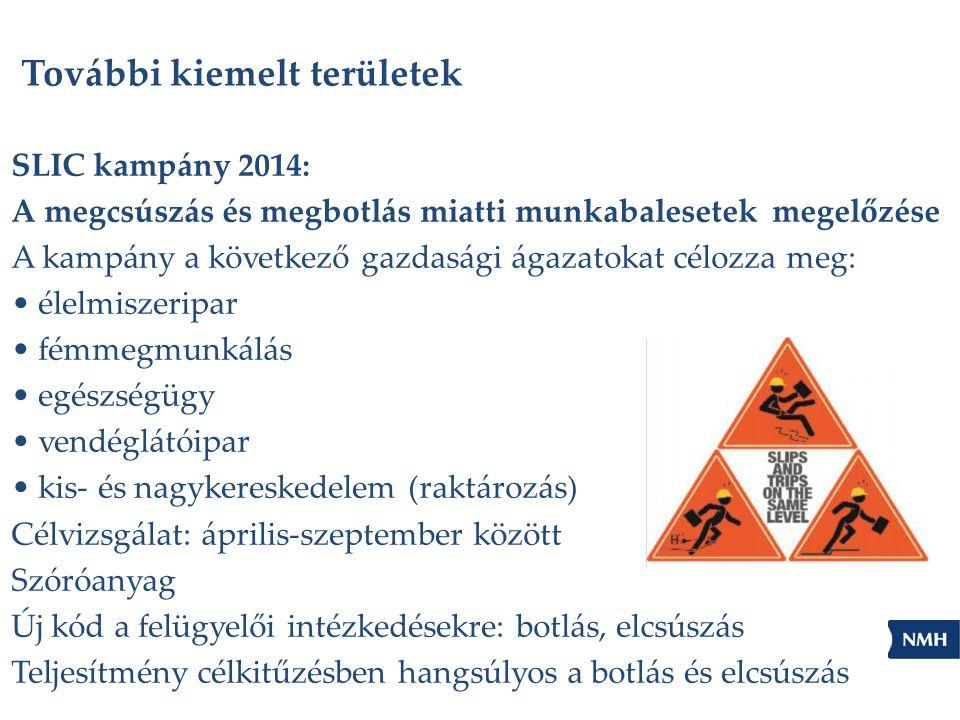 További kiemelt területek SLIC kampány 2014: A megcsúszás és megbotlás miatti munkabalesetek megelőzése A kampány a következő gazdasági ágazatokat cél