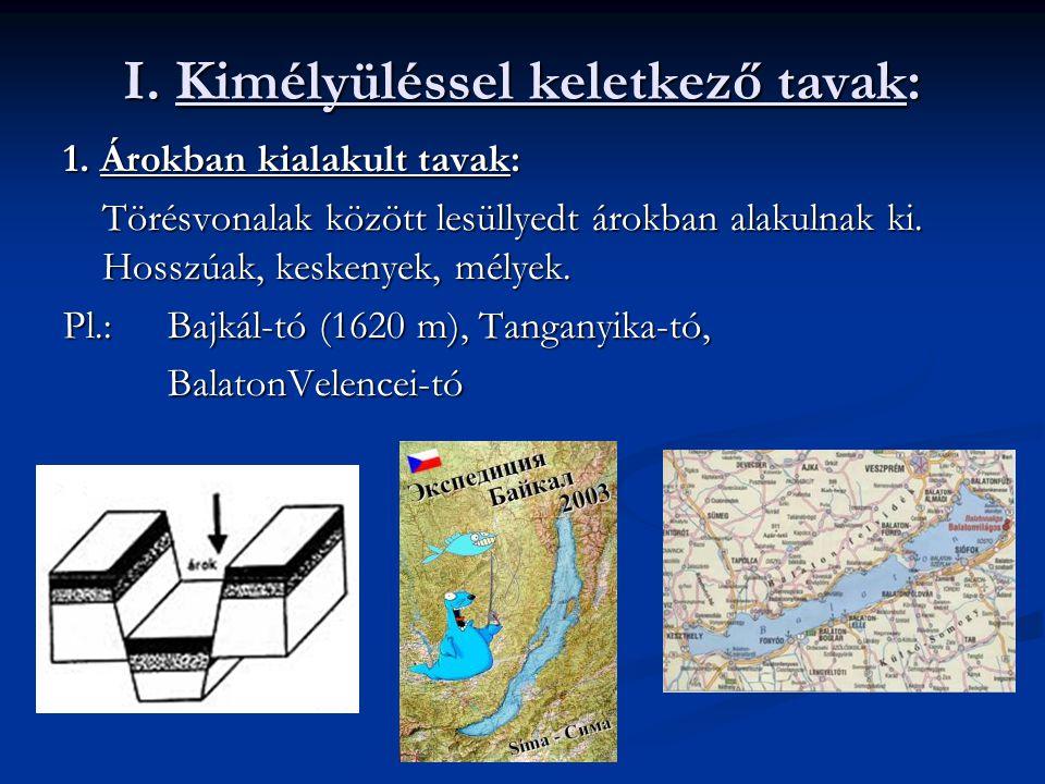 I. Kimélyüléssel keletkező tavak: 1. Árokban kialakult tavak: Törésvonalak között lesüllyedt árokban alakulnak ki. Hosszúak, keskenyek, mélyek. Pl.:Ba