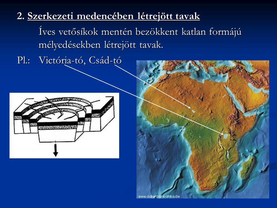 2. Szerkezeti medencében létrejött tavak Íves vetősíkok mentén bezökkent katlan formájú mélyedésekben létrejött tavak. Pl.:Victória-tó, Csád-tó