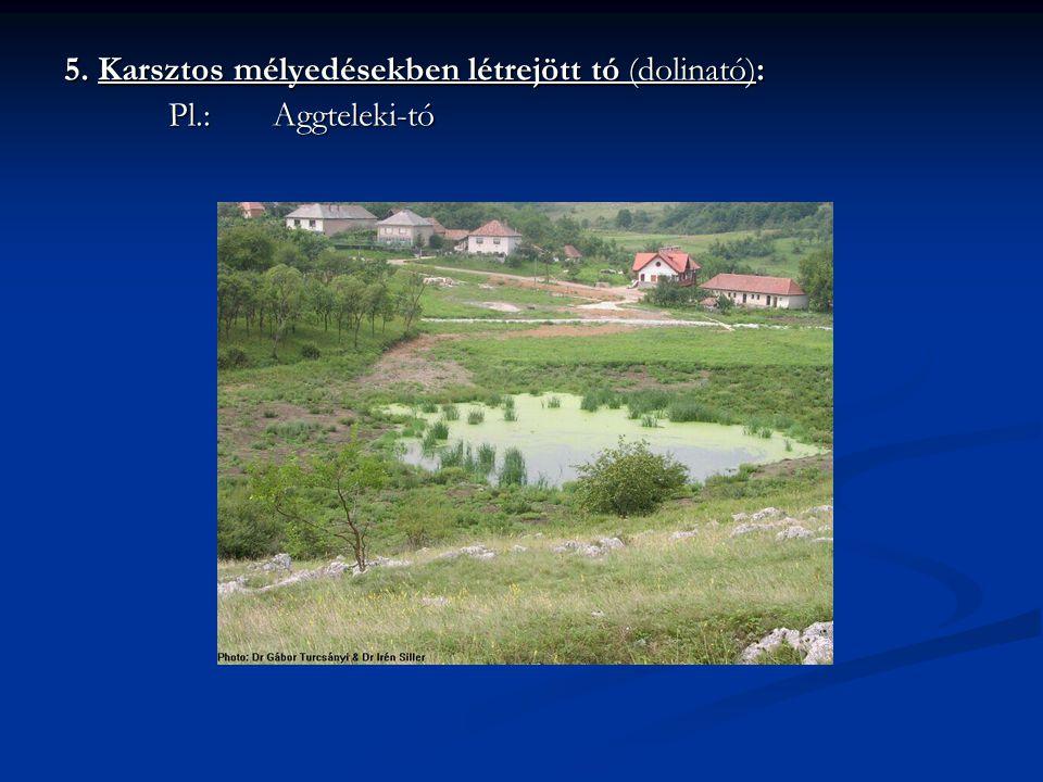 5. Karsztos mélyedésekben létrejött tó (dolinató): Pl.: Aggteleki-tó