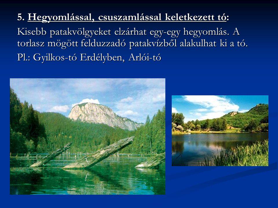 5. Hegyomlással, csuszamlással keletkezett tó: Kisebb patakvölgyeket elzárhat egy-egy hegyomlás. A torlasz mögött felduzzadó patakvízből alakulhat ki