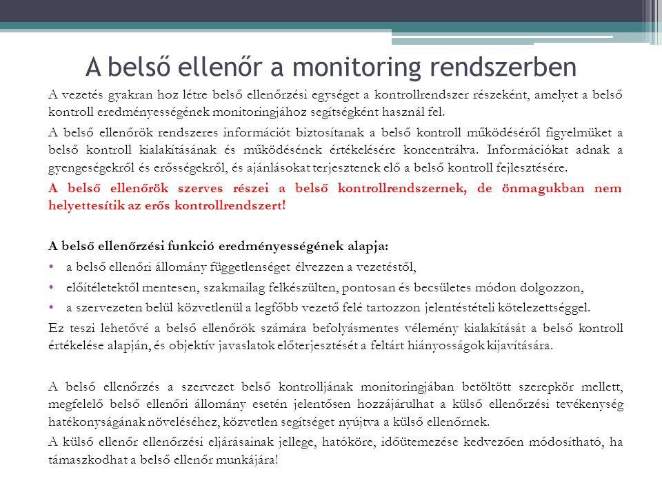 A belső ellenőr a monitoring rendszerben A vezetés gyakran hoz létre belső ellenőrzési egységet a kontrollrendszer részeként, amelyet a belső kontroll eredményességének monitoringjához segítségként használ fel.