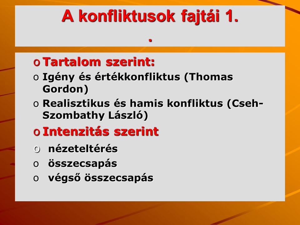 A konfliktusok fajtái 1.. oTartalom szerint: oIgény és értékkonfliktus (Thomas Gordon) oRealisztikus és hamis konfliktus (Cseh- Szombathy László) oInt