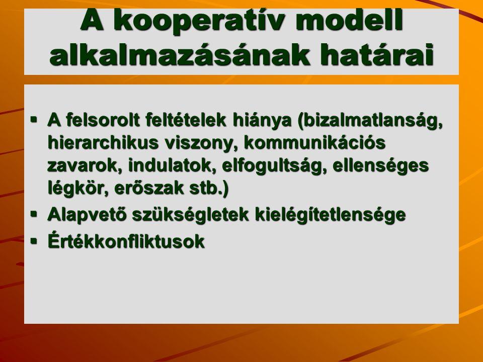 A kooperatív modell alkalmazásának határai  A felsorolt feltételek hiánya (bizalmatlanság, hierarchikus viszony, kommunikációs zavarok, indulatok, el