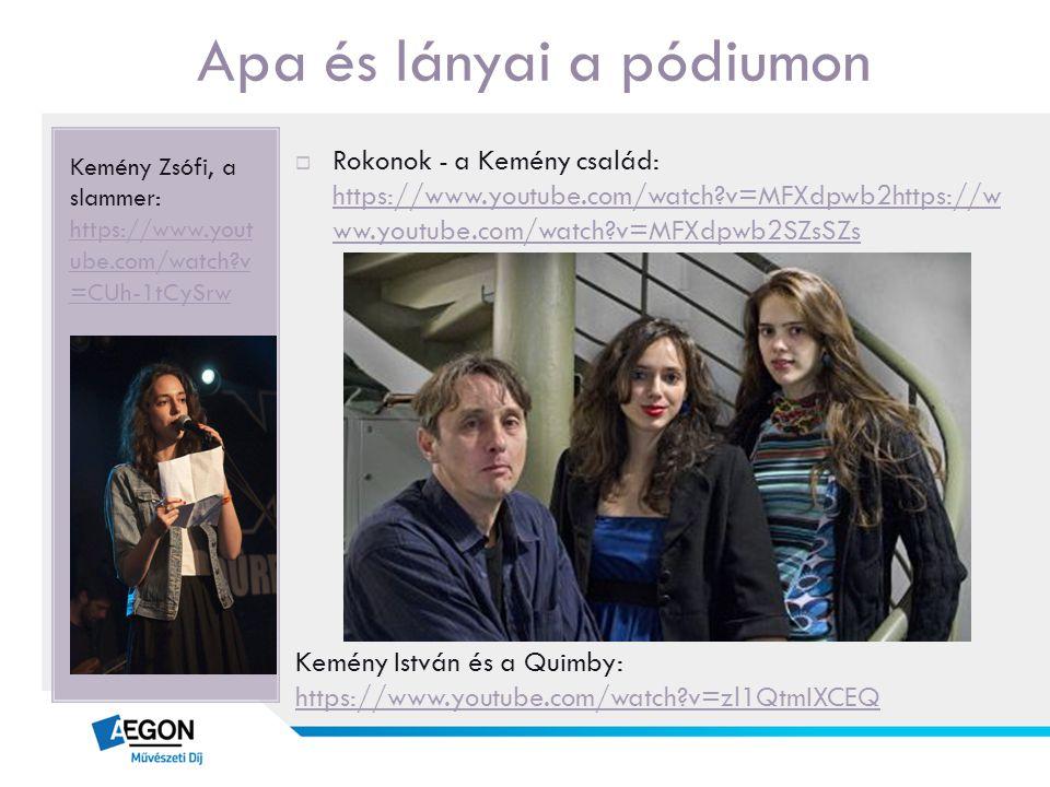Apa és lányai a pódiumon Kemény Zsófi, a slammer: https://www.yout ube.com/watch?v =CUh-1tCySrw https://www.yout ube.com/watch?v =CUh-1tCySrw  Rokono