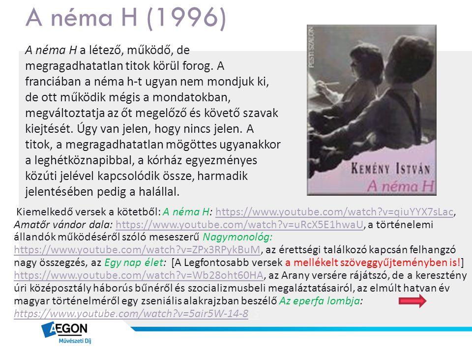 A néma H (1996) A néma H a létező, működő, de megragadhatatlan titok körül forog. A franciában a néma h-t ugyan nem mondjuk ki, de ott működik mégis a