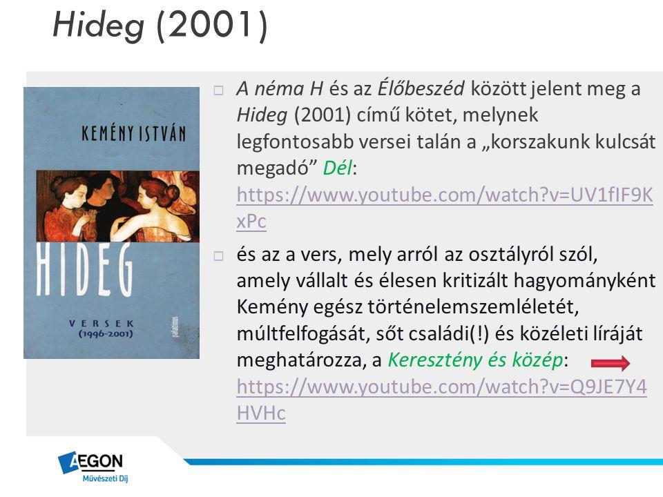 """Hideg (2001)  A néma H és az Élőbeszéd között jelent meg a Hideg (2001) című kötet, melynek legfontosabb versei talán a """"korszakunk kulcsát megadó"""" D"""