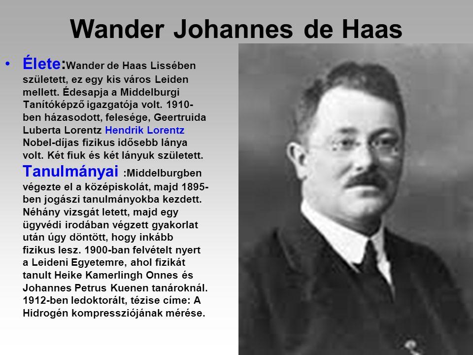 Wander Johannes de Haas Élete: Wander de Haas Lissében született, ez egy kis város Leiden mellett. Édesapja a Middelburgi Tanítóképző igazgatója volt.