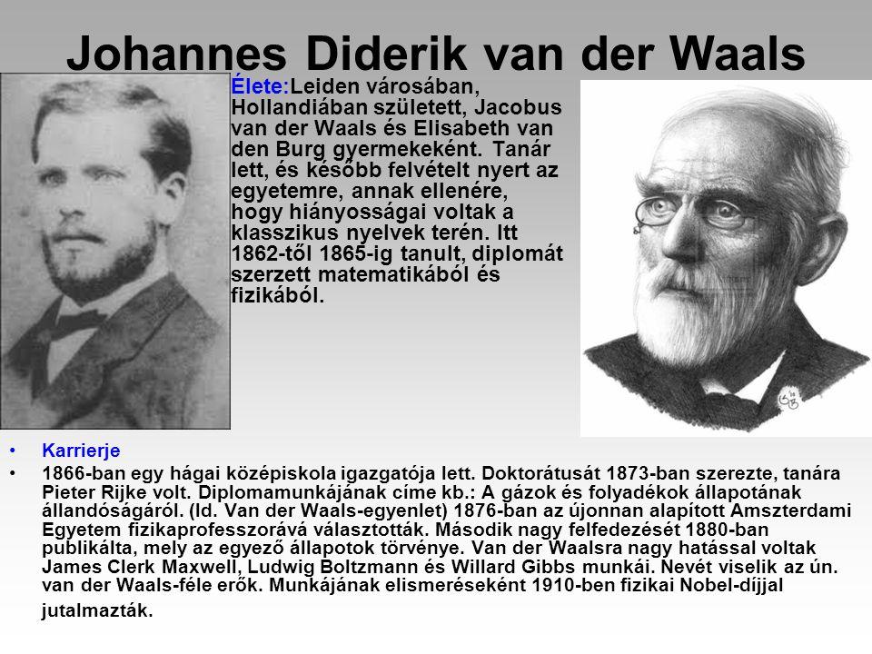 Johannes Diderik van der Waals Élete:Leiden városában, Hollandiában született, Jacobus van der Waals és Elisabeth van den Burg gyermekeként. Tanár let