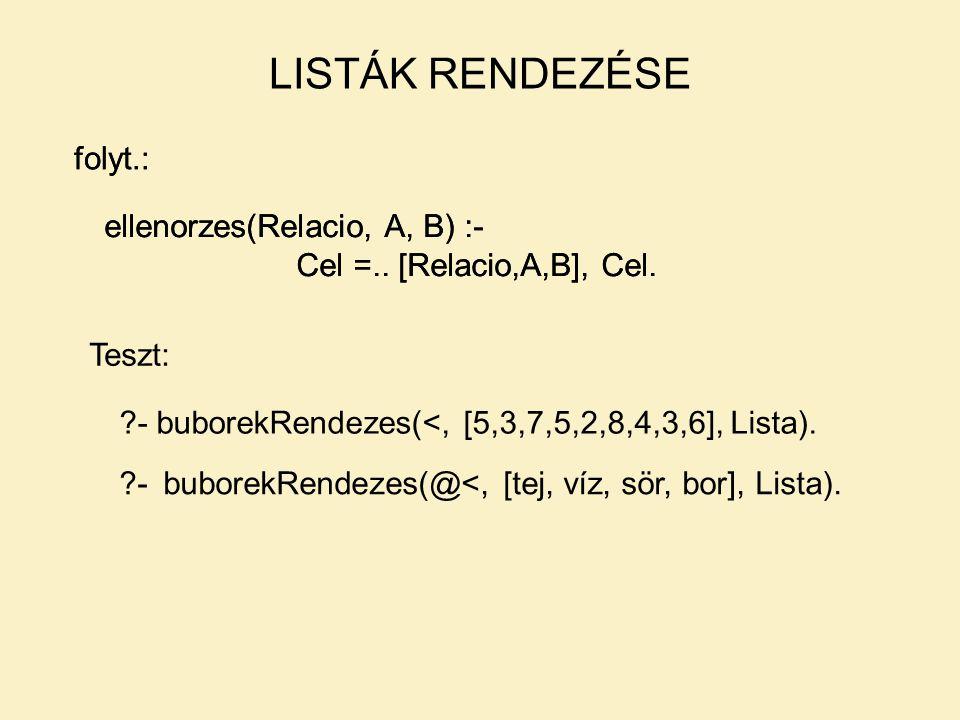 LISTÁK RENDEZÉSE folyt.: ellenorzes(Relacio, A, B) :- Cel =.. [Relacio,A,B], Cel. folyt.: ellenorzes(Relacio, A, B) :- Cel =.. [Relacio,A,B], Cel. Tes