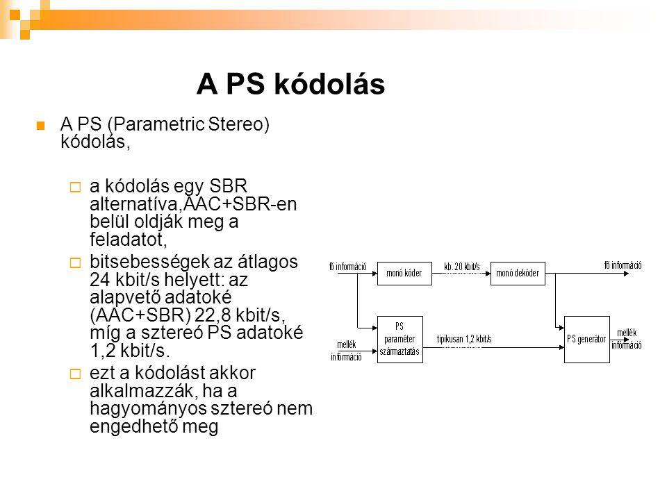 A PS kódolás A PS (Parametric Stereo) kódolás,  a kódolás egy SBR alternatíva,AAC+SBR-en belül oldják meg a feladatot,  bitsebességek az átlagos 24 kbit/s helyett: az alapvető adatoké (AAC+SBR) 22,8 kbit/s, míg a sztereó PS adatoké 1,2 kbit/s.