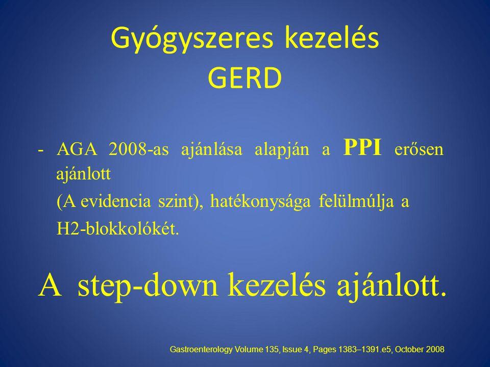 Gyógyszeres kezelés GERD - AGA 2008-as ajánlása alapján a PPI erősen ajánlott (A evidencia szint), hatékonysága felülmúlja a H2-blokkolókét.