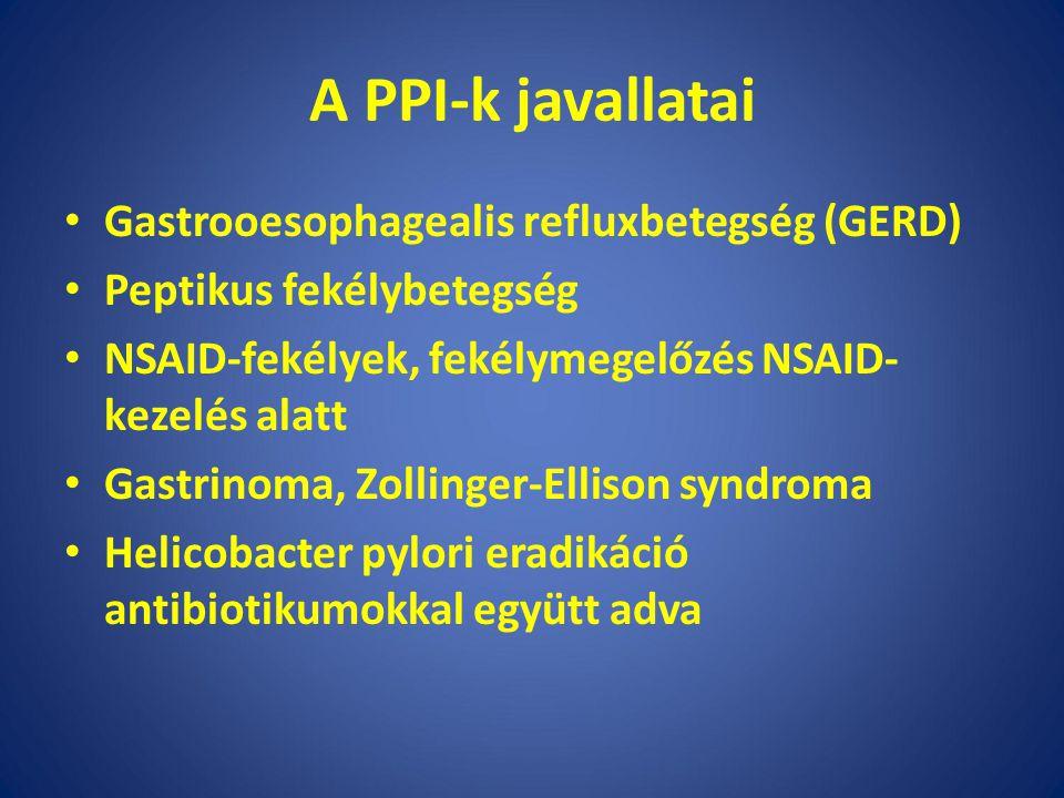 A PPI-k javallatai Gastrooesophagealis refluxbetegség (GERD) Peptikus fekélybetegség NSAID-fekélyek, fekélymegelőzés NSAID- kezelés alatt Gastrinoma, Zollinger-Ellison syndroma Helicobacter pylori eradikáció antibiotikumokkal együtt adva