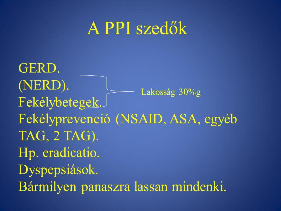 A PPI szedők GERD.(NERD). Fekélybetegek. Fekélyprevenció (NSAID, ASA, egyéb TAG, 2 TAG).