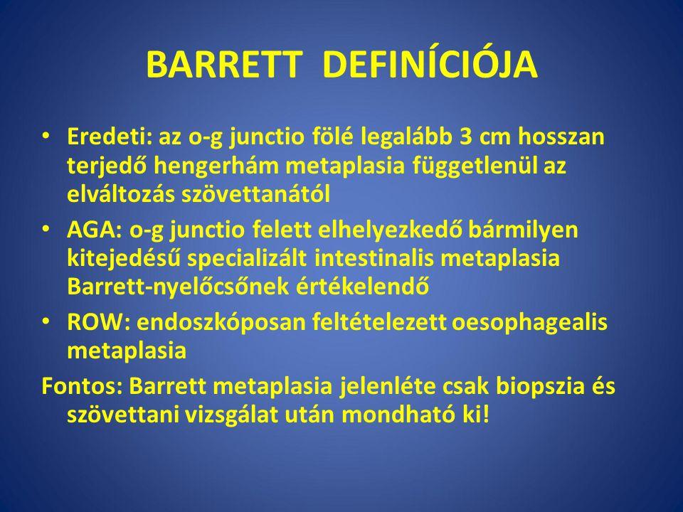 BARRETT DEFINÍCIÓJA Eredeti: az o-g junctio fölé legalább 3 cm hosszan terjedő hengerhám metaplasia függetlenül az elváltozás szövettanától AGA: o-g junctio felett elhelyezkedő bármilyen kitejedésű specializált intestinalis metaplasia Barrett-nyelőcsőnek értékelendő ROW: endoszkóposan feltételezett oesophagealis metaplasia Fontos: Barrett metaplasia jelenléte csak biopszia és szövettani vizsgálat után mondható ki!