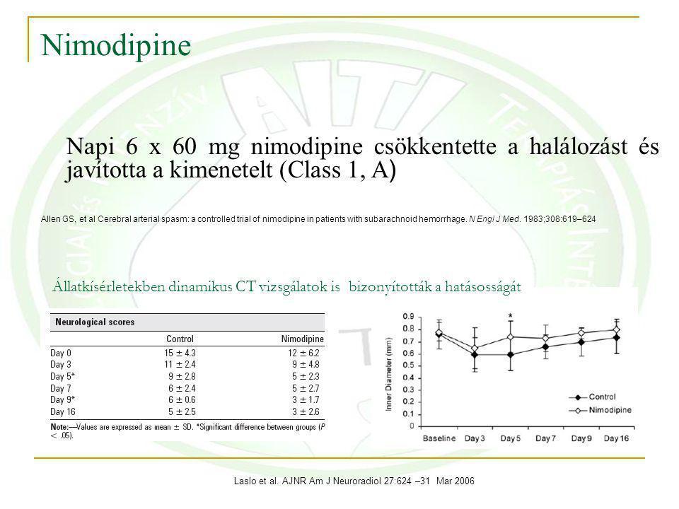 Nimodipine Napi 6 x 60 mg nimodipine csökkentette a halálozást és javította a kimenetelt (Class 1, A ) Allen GS, et al Cerebral arterial spasm: a controlled trial of nimodipine in patients with subarachnoid hemorrhage.