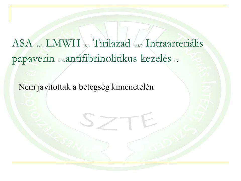 ASA (1,2,), LMWH (3,4), Tirilazad (5,6, 7) Intraarteriális papaverin (8,9), antifibrinolitikus kezelés (10) Nem javítottak a betegség kimenetelén