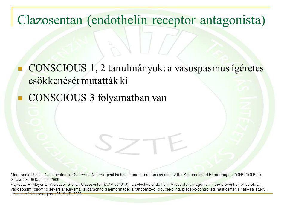 Clazosentan (endothelin receptor antagonista) CONSCIOUS 1, 2 tanulmányok: a vasospasmus ígéretes csökkenését mutatták ki CONSCIOUS 3 folyamatban van Macdonald R et al: Clazosentan to Overcome Neurological Ischemia and Infarction Occuring After Subarachnoid Hemorrhage (CONSCIOUS-1).