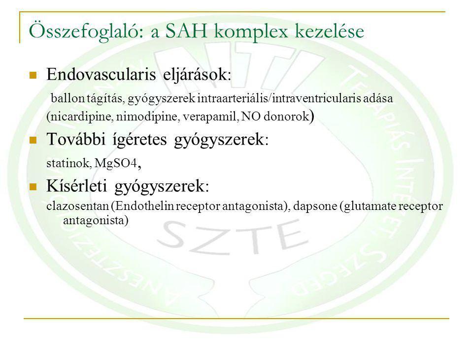 Összefoglaló: a SAH komplex kezelése Endovascularis eljárások : ballon tágítás, gyógyszerek intraarteriális/intraventricularis adása (nicardipine, nimodipine, verapamil, NO donorok ) További ígéretes gyógyszerek : statinok, MgSO4, Kísérleti gyógyszerek : clazosentan (Endothelin receptor antagonista), dapsone (glutamate receptor antagonista)