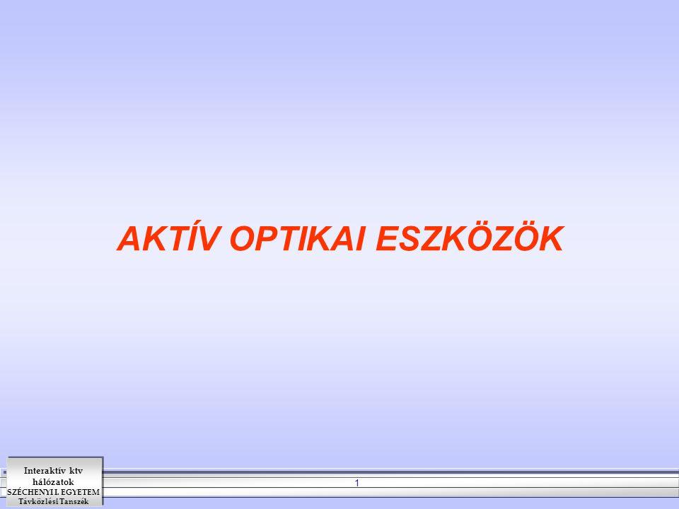 Interaktív ktv hálózatok SZÉCHENYI I. EGYETEM Távközlési Tanszék 1 AKTÍV OPTIKAI ESZKÖZÖK