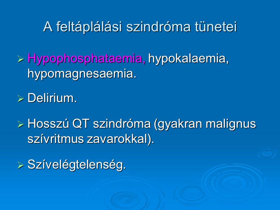 A feltáplálási szindróma tünetei  Hypophosphataemia, hypokalaemia, hypomagnesaemia.  Delirium.  Hosszú QT szindróma (gyakran malignus szívritmus za