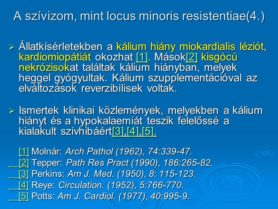 A szívizom, mint locus minoris resistentiae(4.)  Állatkísérletekben a kálium hiány miokardialis léziót, kardiomiopátiát okozhat [1]. Mások[2] kisgócú