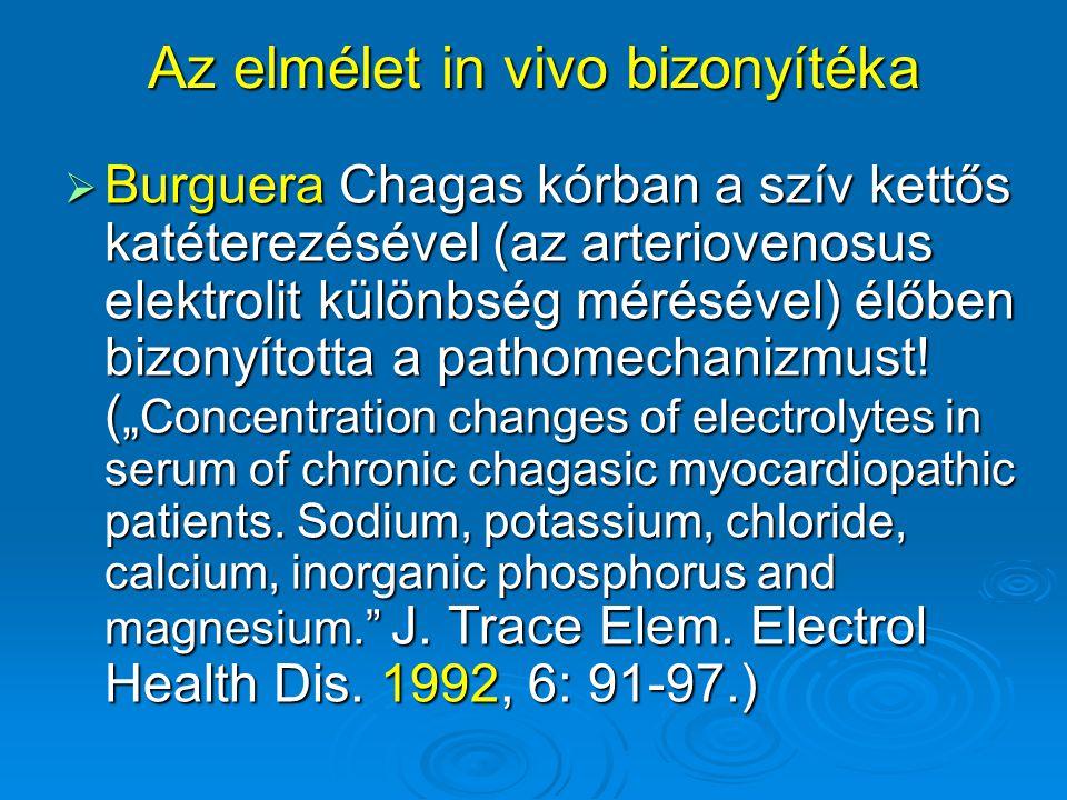 Az elmélet in vivo bizonyítéka  Burguera Chagas kórban a szív kettős katéterezésével (az arteriovenosus elektrolit különbség mérésével) élőben bizony