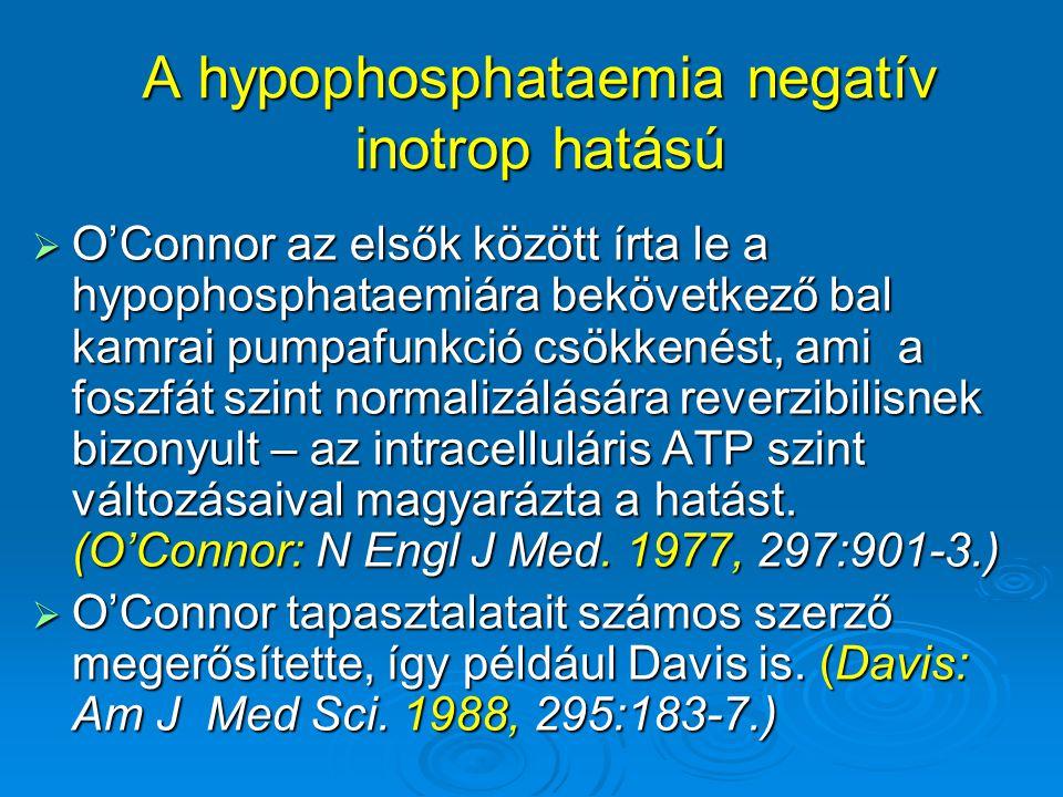 A hypophosphataemia negatív inotrop hatású  O'Connor az elsők között írta le a hypophosphataemiára bekövetkező bal kamrai pumpafunkció csökkenést, am