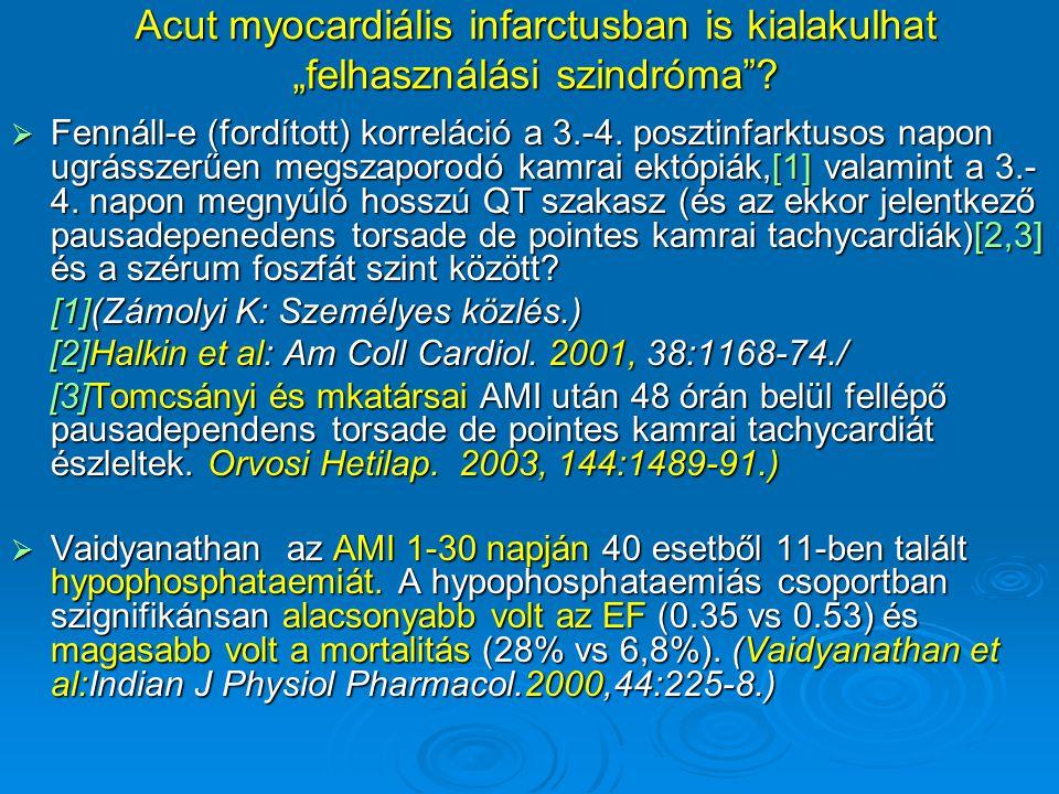 """Acut myocardiális infarctusban is kialakulhat """"felhasználási szindróma""""?  Fennáll-e (fordított) korreláció a 3.-4. posztinfarktusos napon ugrásszerűe"""