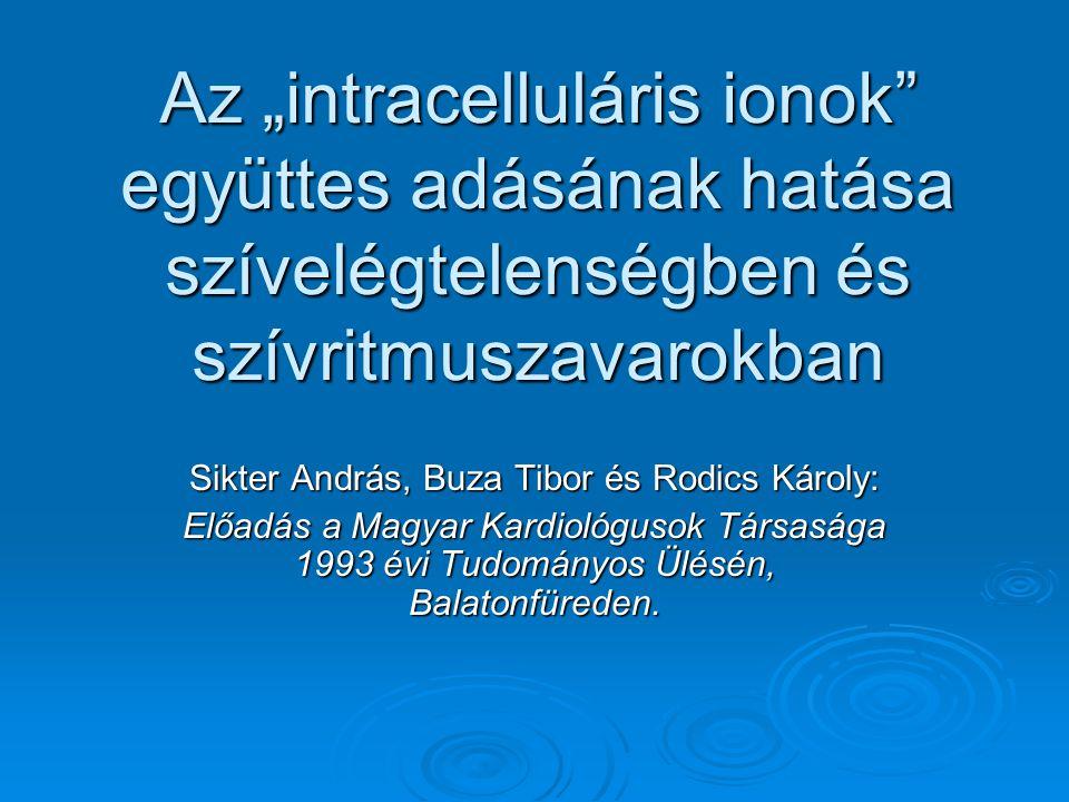 """Az """"intracelluláris ionok"""" együttes adásának hatása szívelégtelenségben és szívritmuszavarokban Sikter András, Buza Tibor és Rodics Károly: Előadás a"""