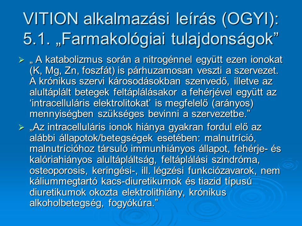"""VITION alkalmazási leírás (OGYI): 5.1. """"Farmakológiai tulajdonságok""""  """" A katabolizmus során a nitrogénnel együtt ezen ionokat (K, Mg, Zn, foszfát) i"""