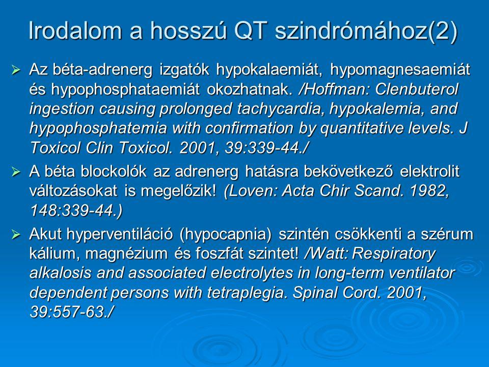 Irodalom a hosszú QT szindrómához(2)  Az béta-adrenerg izgatók hypokalaemiát, hypomagnesaemiát és hypophosphataemiát okozhatnak. /Hoffman: Clenbutero